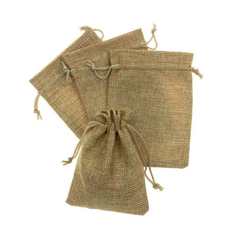 13 * 18cm 린넨 패브릭 Drawstring 가방 캔디 쥬얼리 선물 주머니 패키지 자루 가방 선물 헤센 가방 삼베 모바일 파워 자루 가방 전체 판매