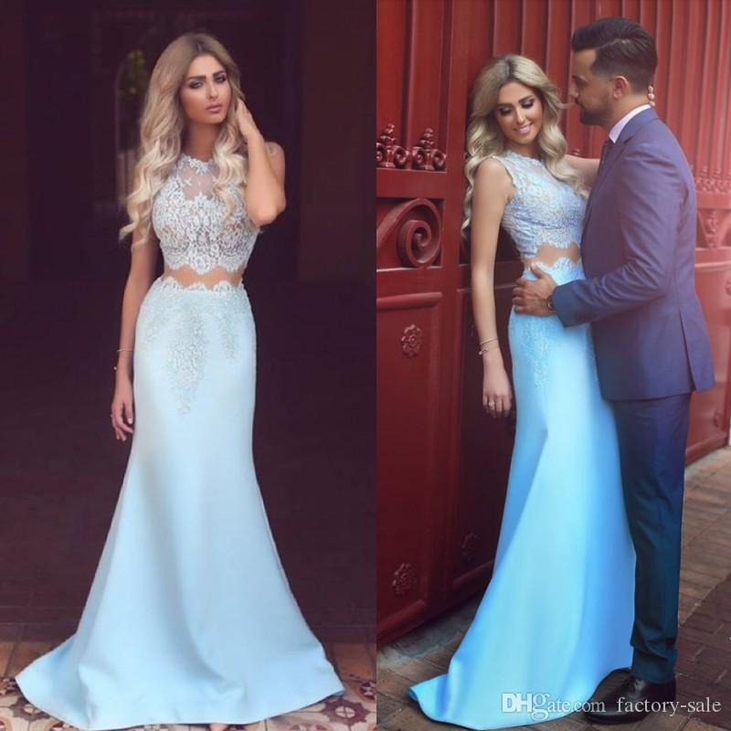 0f35874ab8f Ocean Blue Two Pieces Evening Dresses 2017 Arabic Lebanon Mermaid Sheer  Jewel Neck Lace Appliques Long Formal Party Celebrity Gowns Prom Casual  Dresses ...