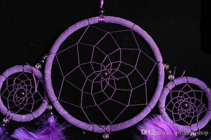 Acchiappasogni fatti a mano adorabili di stile dell'India con 5 piume degli anelli che appendono il regalo della decorazione Dreamcatcher che spedice liberamente