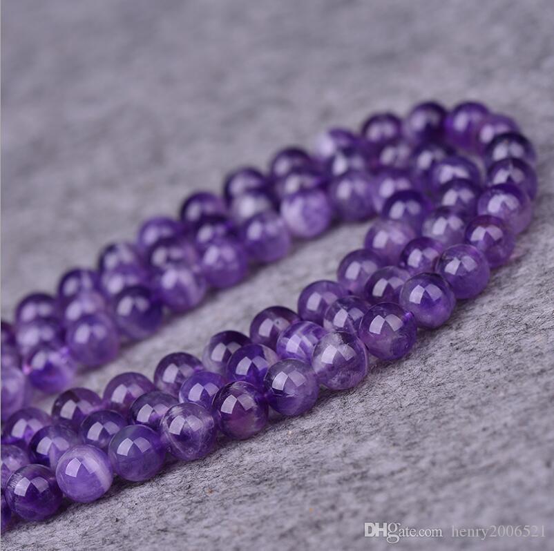 чтобы выиграть теплую похвалу от клиентов природных круглый Аметист ювелирные изделия свободные драгоценный камень бусины Strand 15