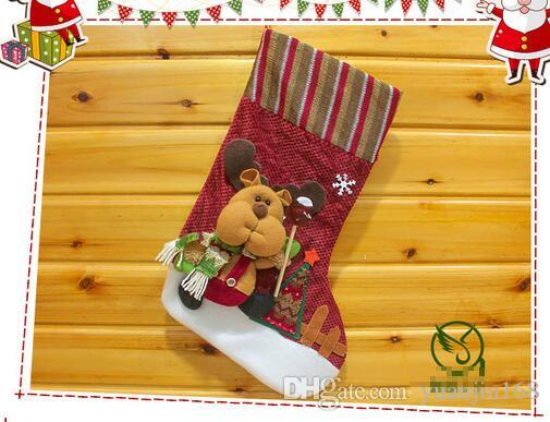 2016 happy Christmas lovely stockings hanging indoor family festival Ornaments SHB050
