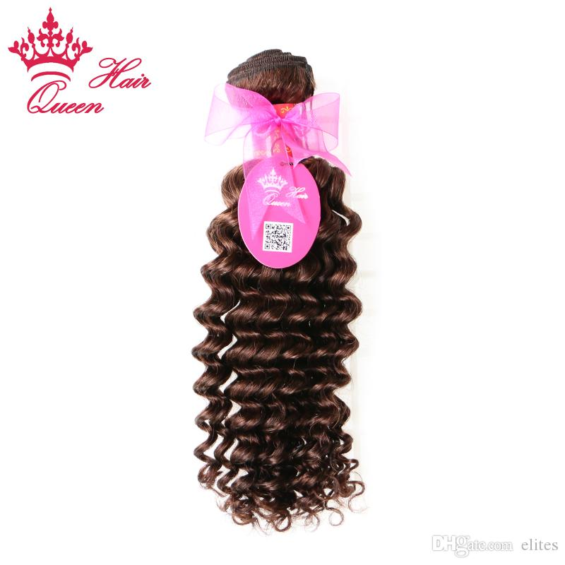 "Queen Hair Brazilian Deep Wave Human Hair Weave 1pc 14""-20""#2 Color Brazilian Virgin Hair Extensions Natural Brown DHL Free"