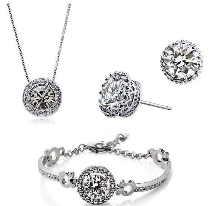 New Fashion 18K Gold Plated Austrian Crystal Necklace Bracelet Earrings Jewelry Set Made With SWAROVSKI ELEMTNS Wedding Jewelry