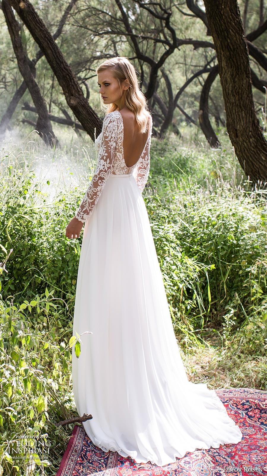 2017 Glamorous vestido de novia Chiffon Long Wedding Dresses 2016 Crew Neck Sheer Bodice Long Lace Sleeves Bridal Gowns Sweep Train