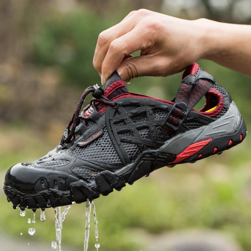 1dee1ec563e 2017 Men Outdoor Sneakers Breathable Hiking Shoes Big Size Men Women  Outdoor Hiking Sandals Men Trekking Trail Water Sandals