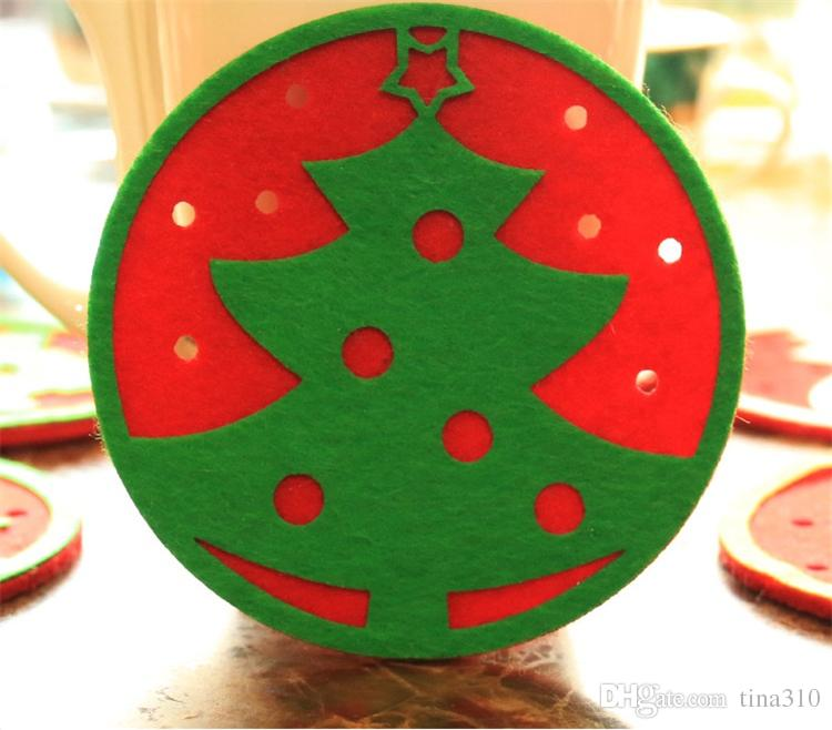 Hot Christmas decorations west glass table mat Coffee cup mat disc pad insulation pad Christmas gifts B0757