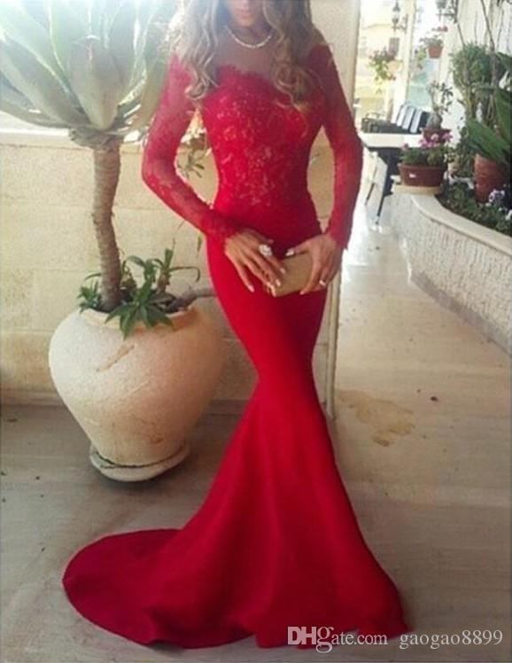 2017 Fall Red Lace Mermaid Formal Long Evening Dresses Bateau Neck Long Sleeves Open Back Sweep Train Party Prom Gowns