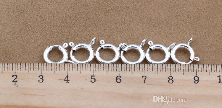 925 boutons d'argent Clip 5 MM 6 MM 7 MM Pendentif Melon graines Collier bouton Boucle Boucle de printemps Solide 925 Sterling Argent DIY Bijoux Accessoire