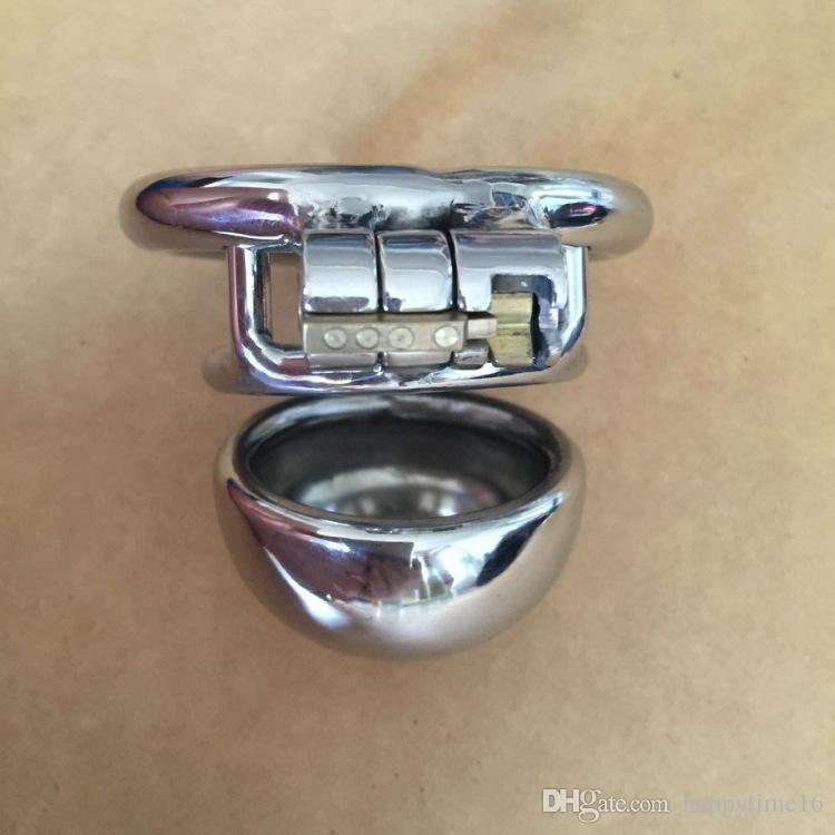 Commercio all'ingrosso - Dispositivo di castità maschile lucidato a mano Cintura di castità in acciaio inossidabile Dildo Bondage Cazzo Gabbia pene l'uomo