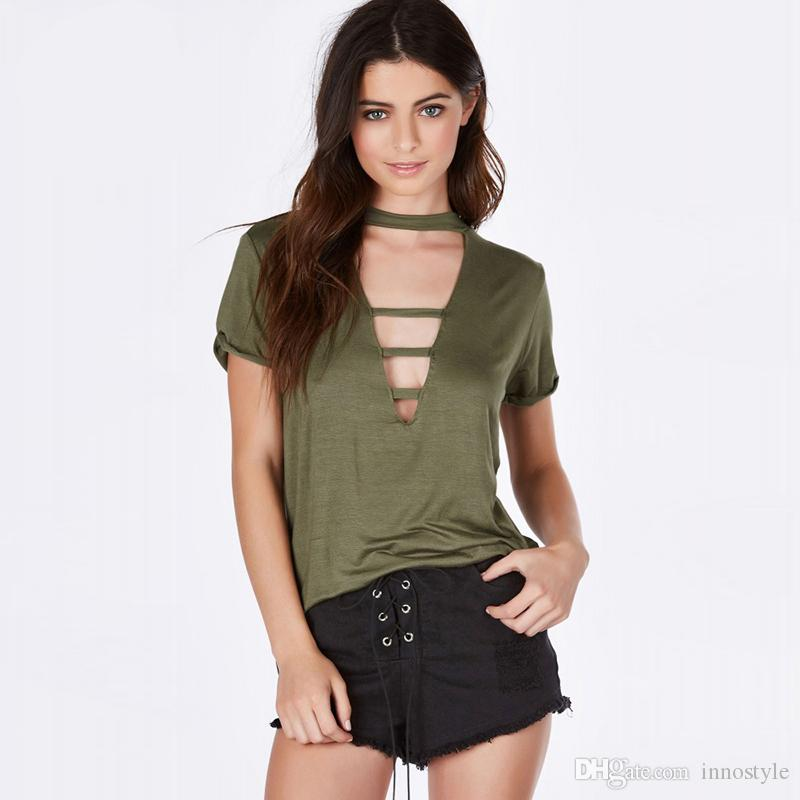 army green deep v neck sexy t shirts women short sleeve cut out tee shirts creative choker. Black Bedroom Furniture Sets. Home Design Ideas