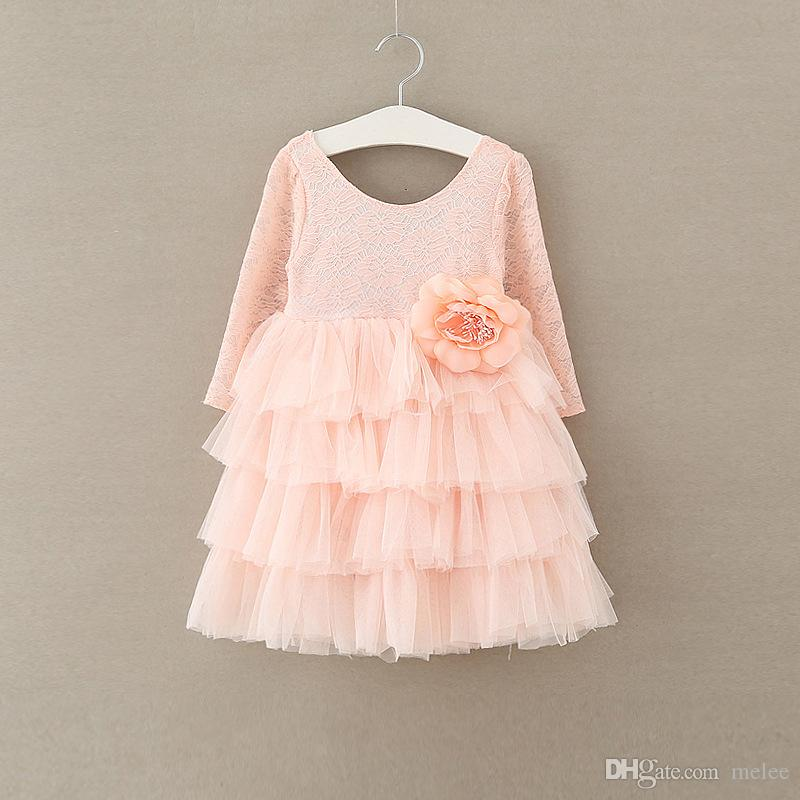 INS Girls XMas full Lace tutu Princess Dresses Girls Tulle Floarl Party Dress Girl Long Sleeved O Neck Dress for 2-7years