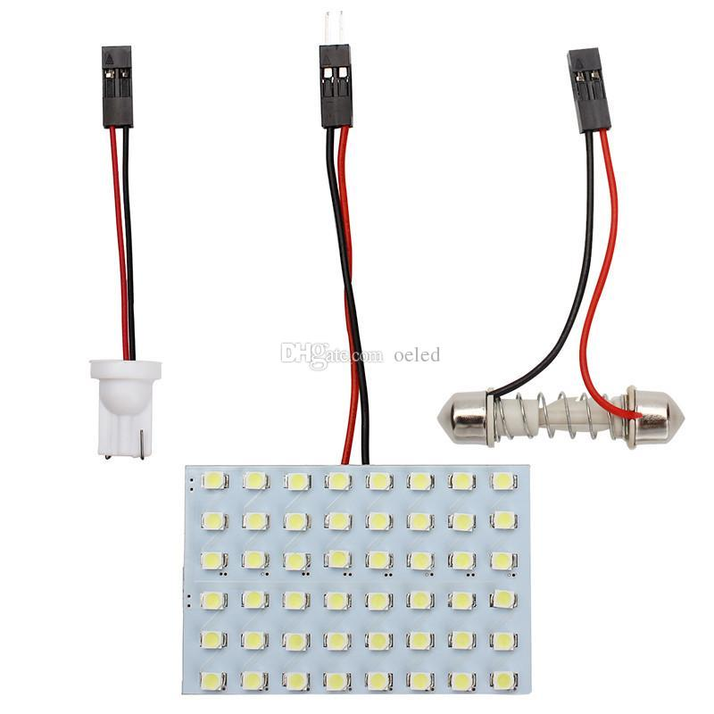 1210 SMD 48 LED luz Branca led AUTO lâmpada do carro DC 12 V Car Interior Dome Lâmpada + T10 Dome Festoon K608W