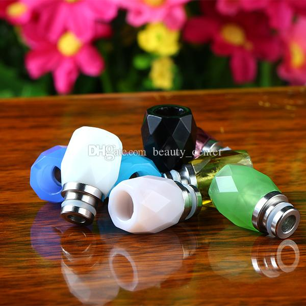 New Arrival e cigs Glass Tips 510 Rhombus Glass Drip Tips Stainless Steel + Glass Wide Bore Drip Tips for e cigs
