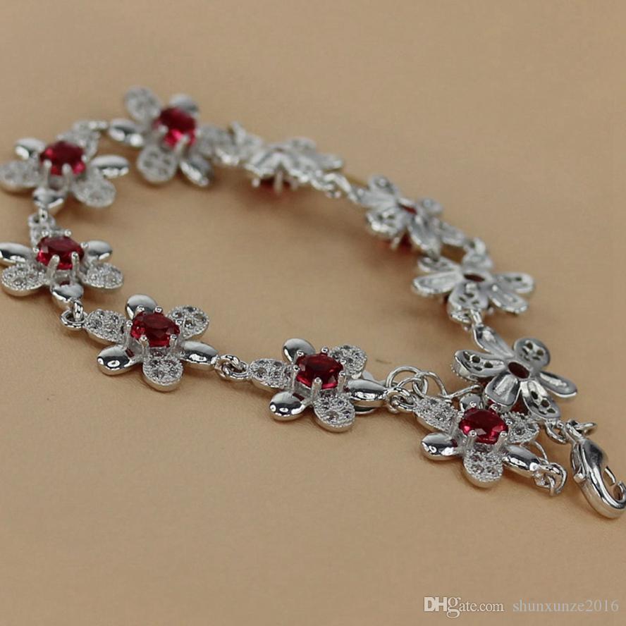 Kupfer rhodiniert armbänder förderung rot zirkonia mn3269 edle großzügige Lieblings schöne Explosion modelle die neue Auflistung punk