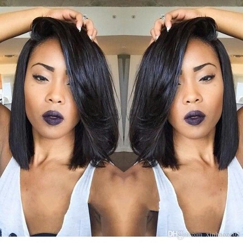 Popular layered bob short human hair wigs 130% density silky straight full lace&lace front wig for black women
