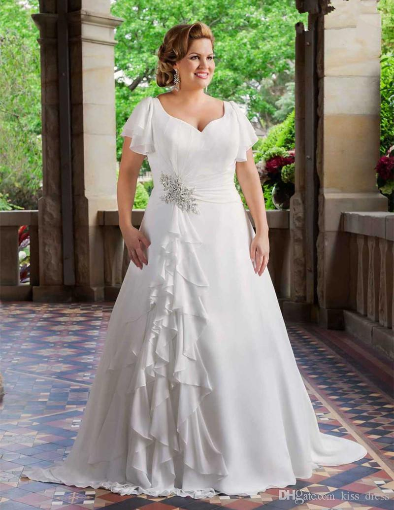 Discount 2017 new plus size wedding dresses short sleeve v for Plus size wedding dresses online usa