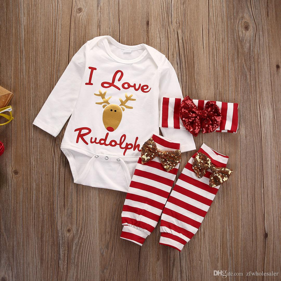 62f5bf388d9 2019 Baby Girl Christmas Pajamas Xmas Kids Clothing Set Girl Children  Boutique Clothes Reindeer Kidwear Romper Onesies+Headband+Legging From  Zfwholesaler