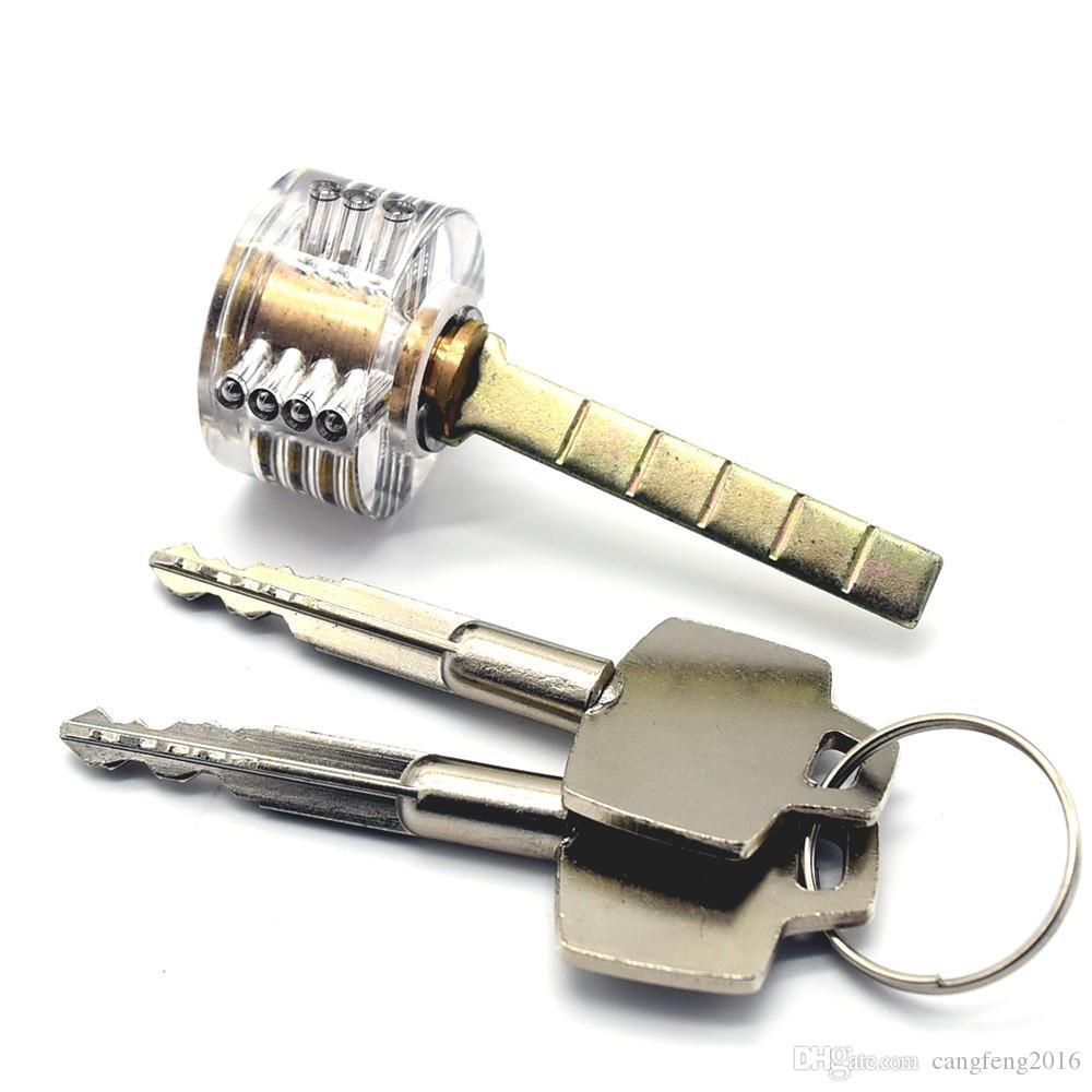 Kostenloser Versand Transparent Cutaway Practice Lock Kreuzschlüsselschlösser für Tür Schubladenschrank Pick Set Ausbildung Geschicklichkeitsschloss