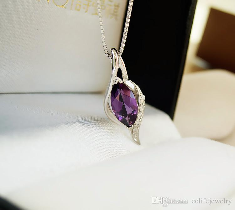 100% natural amethyst pendant necklace crystal 925 Solid Sterling Silver new fashion pendant for woman brithday gift perfect party jewelry