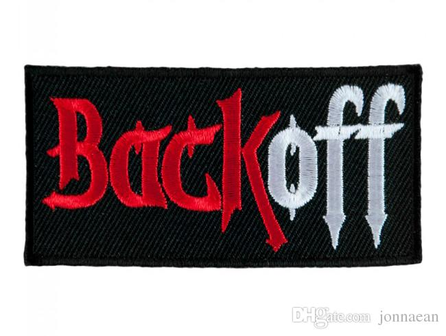 Back Off Red & White Embroidered Iron-On Or Sew-On Patch, Biker Sayings Patches 3*1.5 INCH