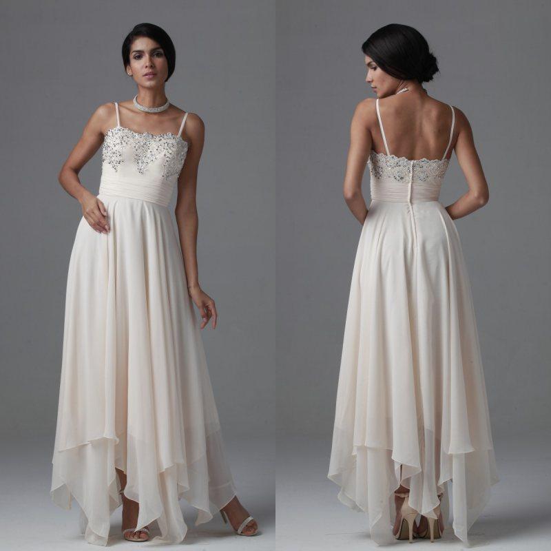 6f42ff4b1 Asymmetrical Chiffon A Line Spaghetti Straps Beach Wedding Dresses ...