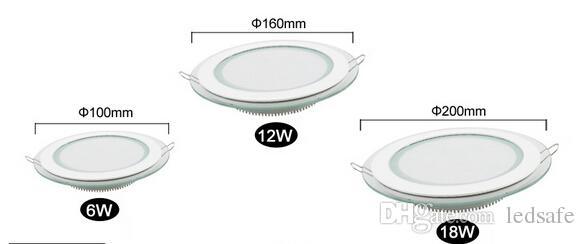 Glas LED Down Erröten-Einfassung Rund Quadrat 6W 12W 18W SMD 5630 versenkten Blech Lampe für Modernen Supermarkt Bürobeleuchtung Dekorieren CE ROSH