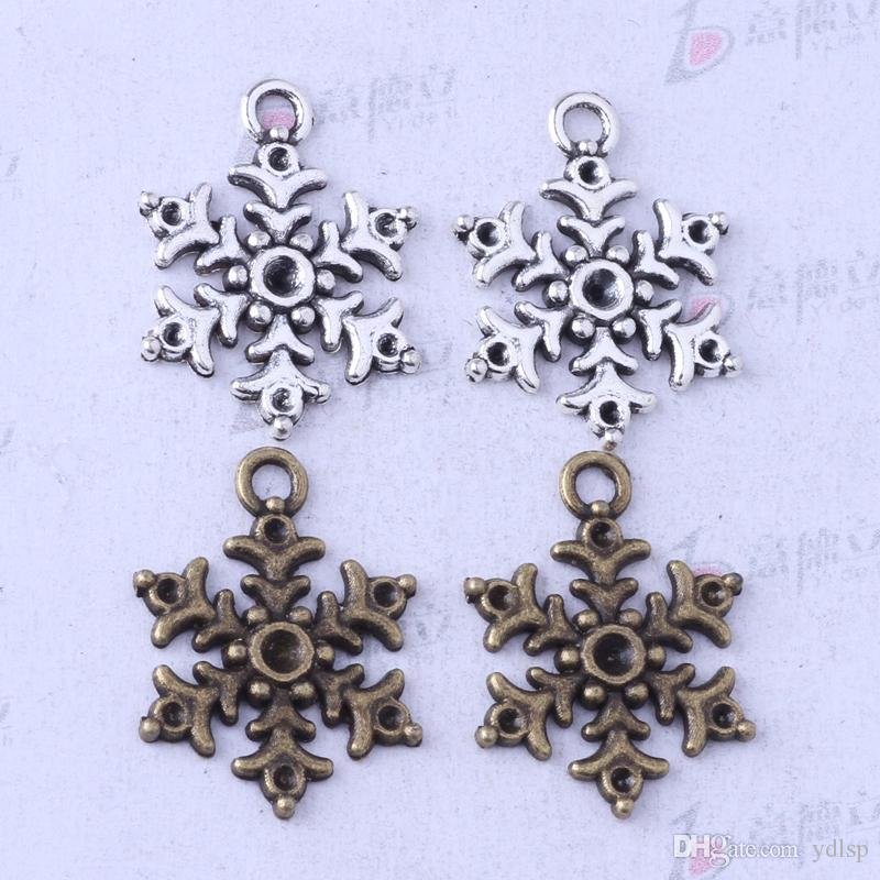 Six points pendentif flocon de neige bricolage antique argent / bronze Fit bracelets collier fabrication de bijoux en métal / 3453