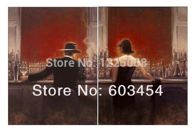 Vente en gros 100% artisanat peinture à l'huile Pop Art le bar à cigares Hommes et femmes 24x36 pouces x2 pas encadré Livraison gratuite