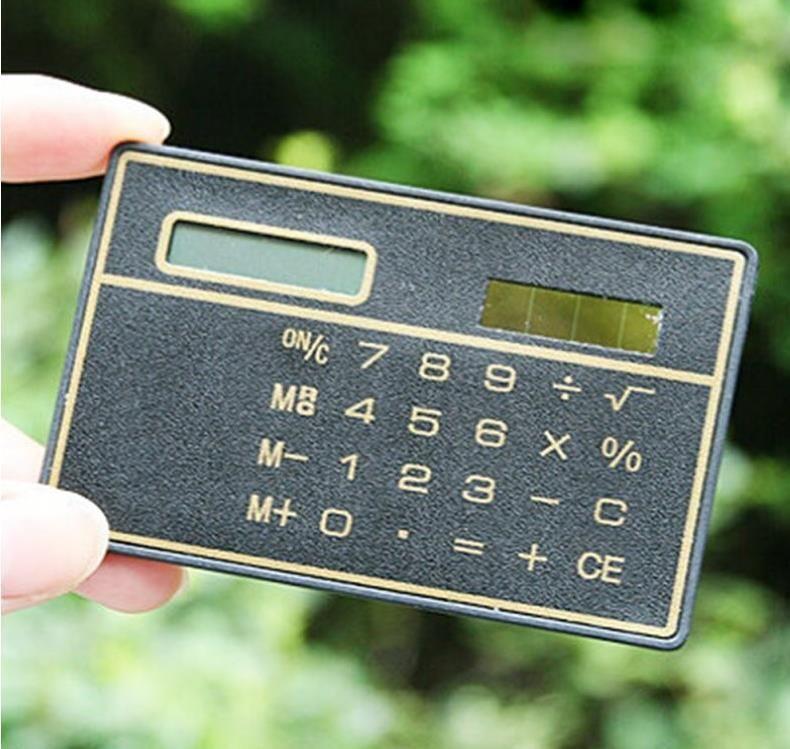Calculatrice de carte solaire mini calculatrice Compteur d'énergie solaire mini carte de crédit mince Calculatrice d'énergie solaire ultra-mince