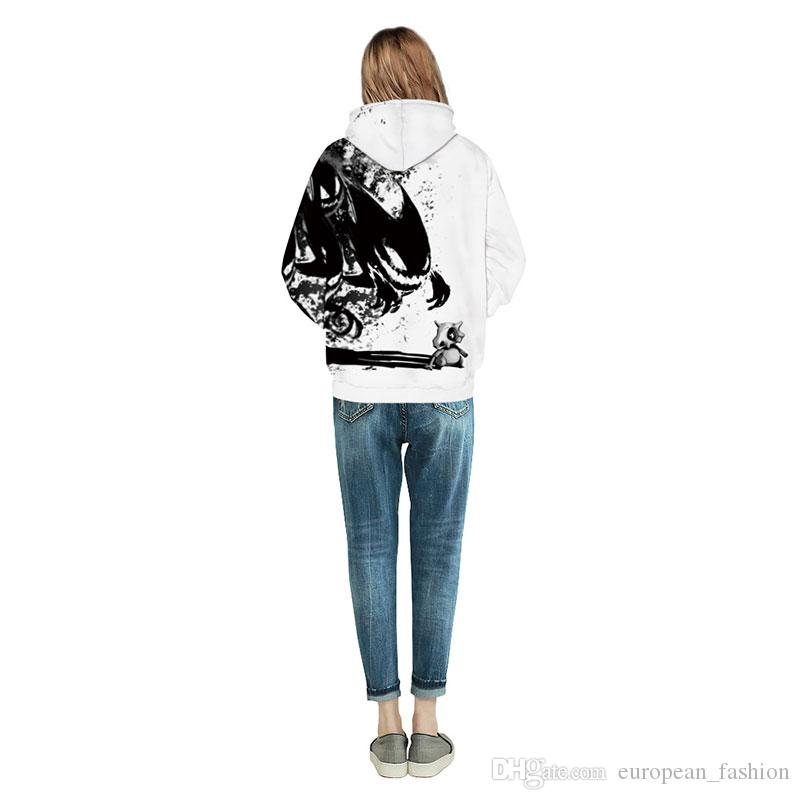 fashion mens hoodies & sweatshirts 2017 Men/Women 3d hoody sweatshirt Print Ink Skulls And Small Dragon hooded hoodies Thin tracksuit men