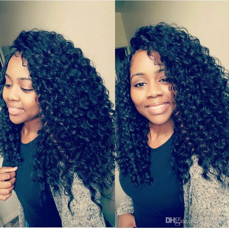Kant pruiken voor zwarte vrouwen krullend maagdelijk menselijk haar pruiken met baby haar Medium Cap Natuurlijke kleur 130% 150% 180% Dichtheid Bella Haar