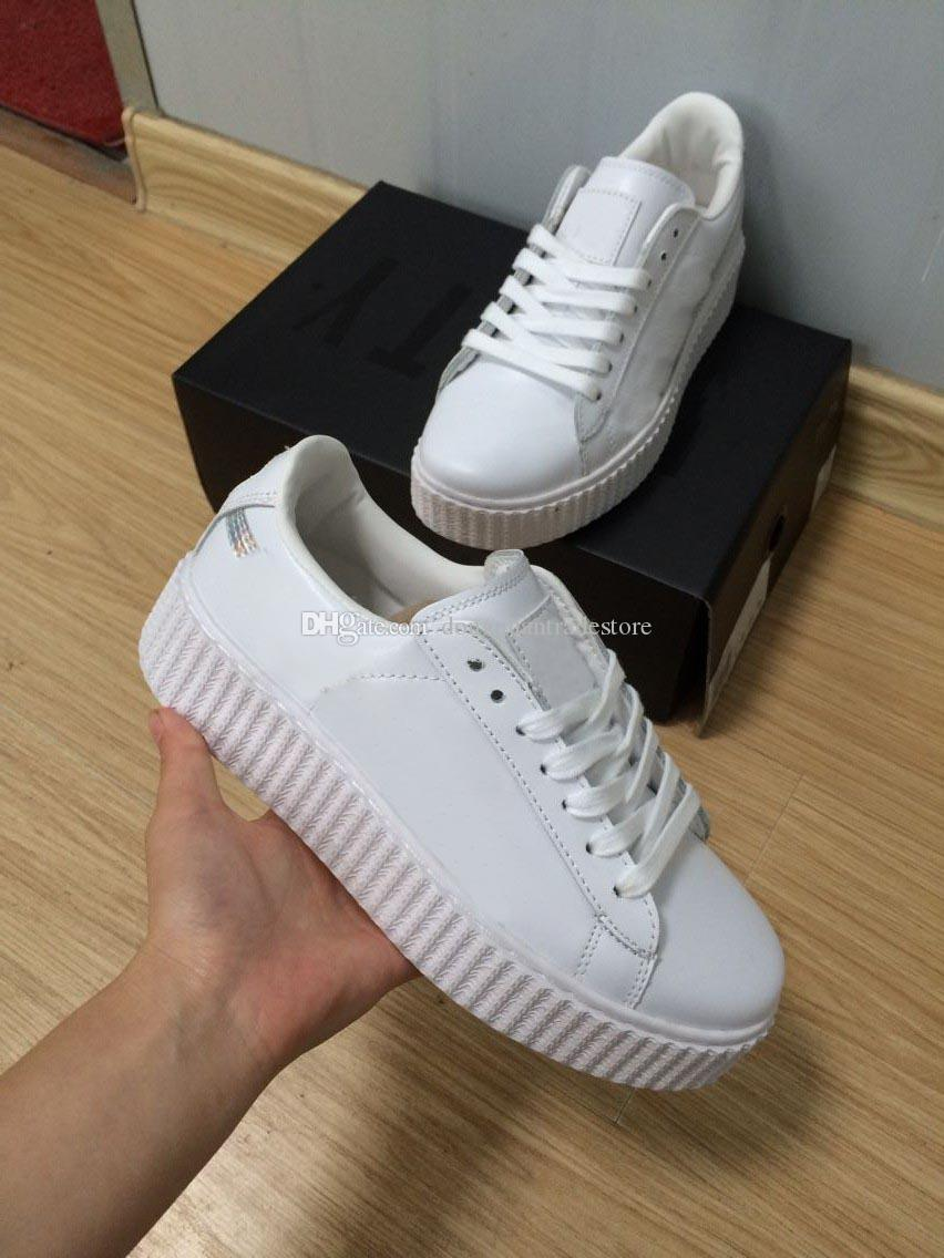(With Box)Wholesale 2018 High Quality Fenty Rihanna Creeper Casual Shoes Men Women Leather White Trainers Flat Shoes Sneakers Size:EUR 36-44 under 50 dollars QcJvnCz