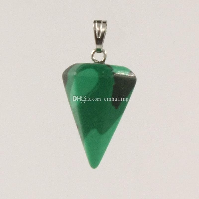 Lucky Protection Powers Amulet Jewelry Cone Faceted Natural Genuine Green Moss Agate Malachite Unakite Amethyst Onyx Lapis Lazuli Pendants