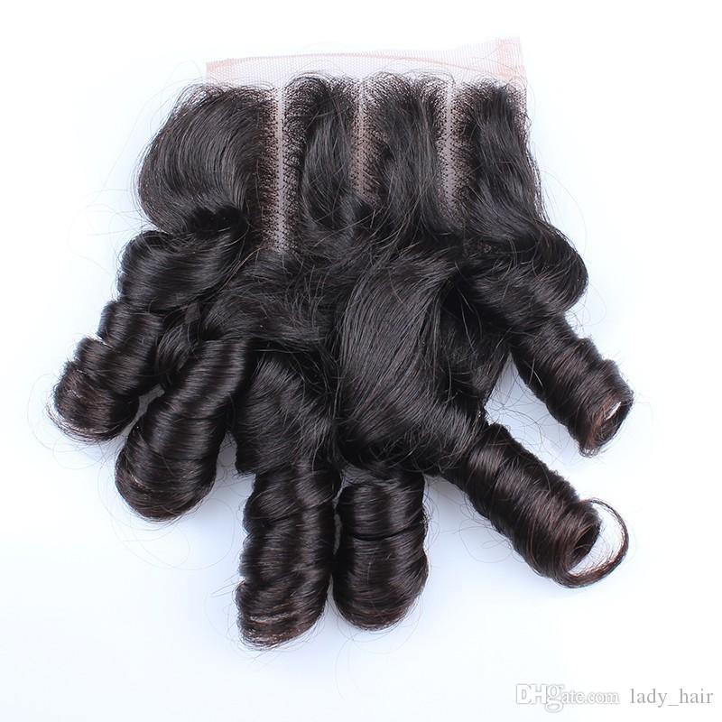 Тетя Funmi бразильский человеческих волос с 4 * 4 кружева закрытия романтика кудри 3 шт. Funmi пучки человеческих волос с закрытием 3 Способ Часть 4 шт. / лот