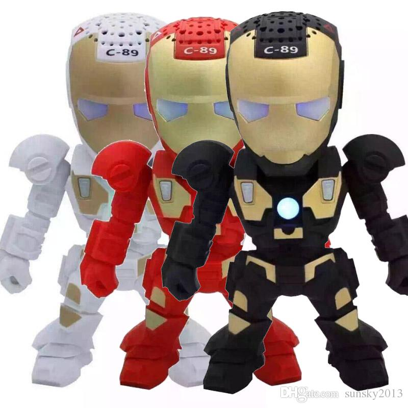 Kids' Cool Gift Iron Man Portable Mini Speaker with LED Light Robot C89 Bluetooth Wireless Speakers Stereo Hifi Sound Box TF USB MP3 Player