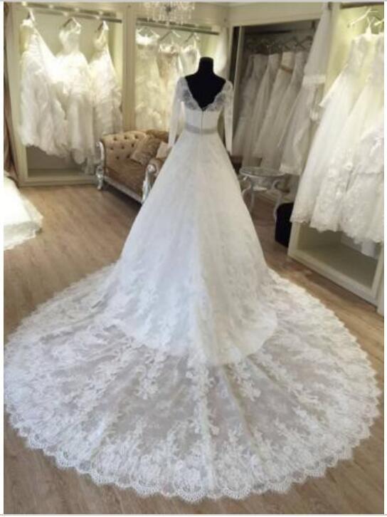 Изысканный 2017 кружева с длинными рукавами свадебные платья скромный V шеи бисером пояс часовня поезд свадебные платья на заказ плюс размер EN8173