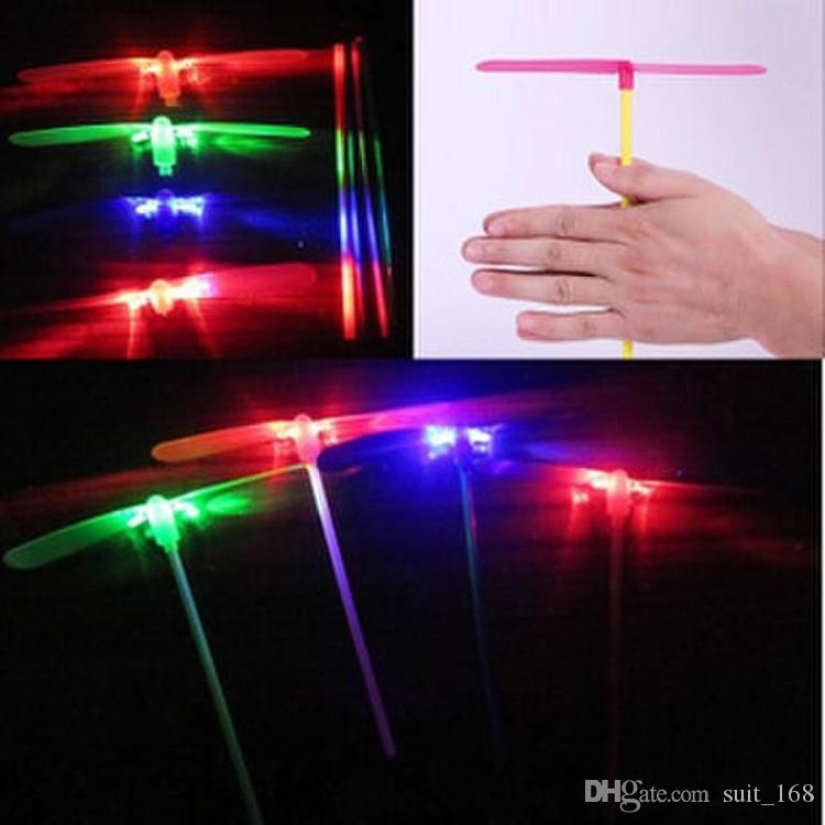 whilesale Children's toys flying fairy stall wholesale outdoor toys luminous flash bamboo dragonfly hand push UFO Frisbee