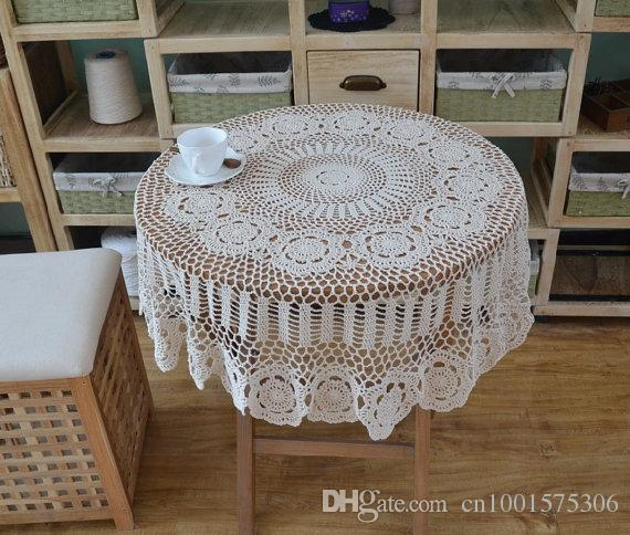 Totally Handmade Round Tablecloth, Hand Crochet Table Cover, Vintage Style Table  Cloth, Chic Crochet Pattern Table Linens Decor Linen Like Tablecloths 70 ...