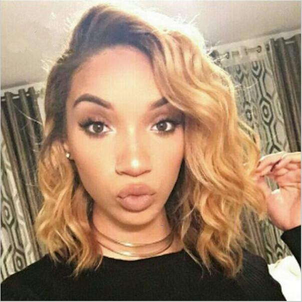 150 180 Density Side Part Honey Blonde Wavy Bob Lace Wigs