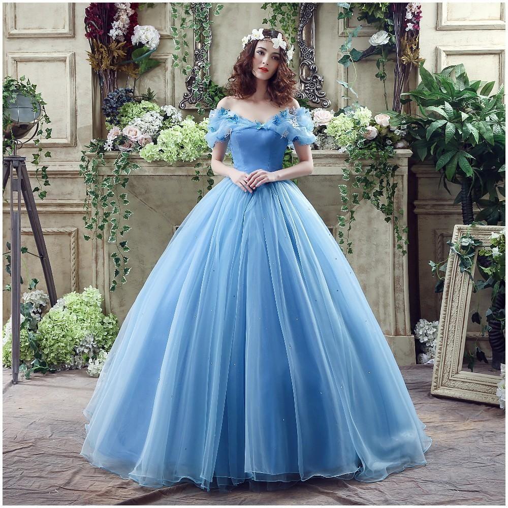 Azul Cinderela vestido de Baile Vestidos de Noiva Appliqued 3D Fora Do Ombro Neckle Lace-up Voltar Tulle Frisada Barato Vestidos de Noiva
