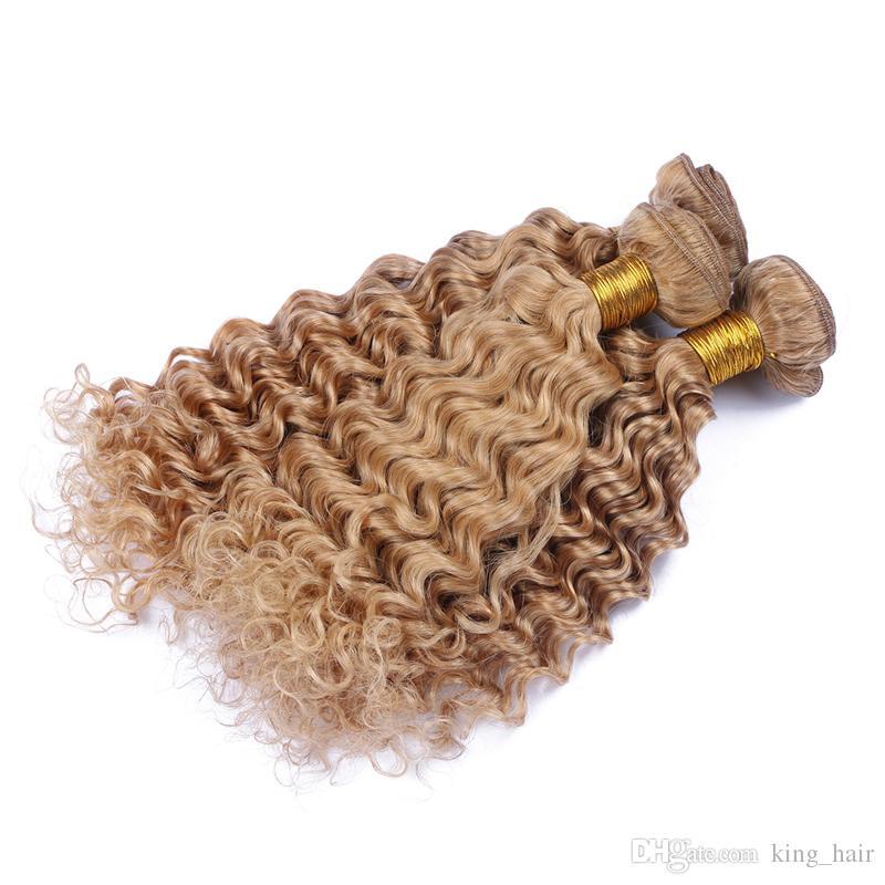 브라질 9A 인간의 머리카락 깊은 웨이브 헤어 번들 순수한 색의 허니 금발 # 27 헤어 위브 여자를위한 깊은 곱슬 직조 머리 익스텐션