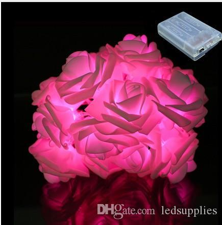 30 Valentines Natal Wedding Party Fada da flor de Rosa Rosa LED dia Decor Luz Cordas Jardim Decoração