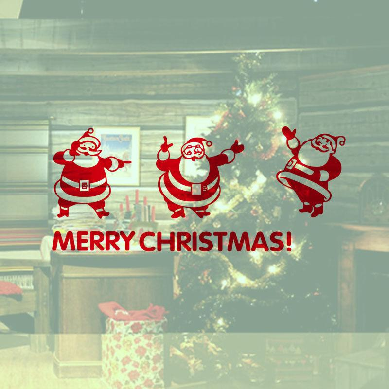 YO-98 Christmas Decoration Decal Three Lovely Santa Claus Home Shop Window Vinyl Wall Sticker Kids Room Decal Sticker SIY Decor YO-98
