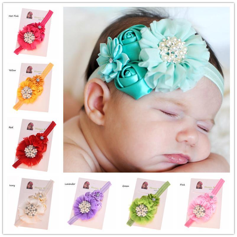 Wholesale newborn baby photo props rosette hair flower hairband fancy hair accessory baby girl headband littler girls hair bow vintage bridal hair