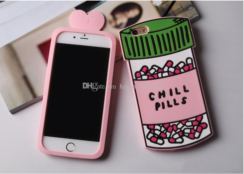 3D Love Potion phone case 3D Chill Pills Bottle Soft Silicone Cover Case For Apples iPhone 6s Plus 6 Plus 7 7plus Phone Cases Shell Bag