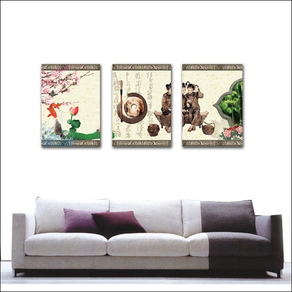 unframed art picture Home decoration Canvas Prints writing brush fish Jade Lotus leaf girl Plum stone carving