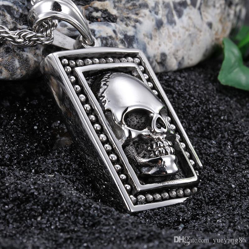"""Brand New Vintage Rocker Stainless steel Large Dog Tag Biker Skull Necklace Pendant with 4mm*22"""" Rope Chain"""