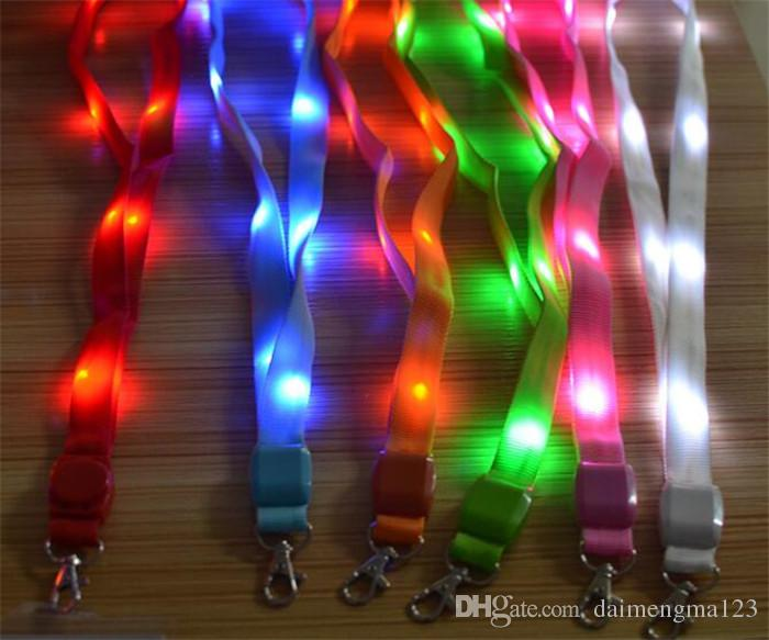 fashion Nylon Material Multi-colors Led Flashing Lanyard ID Card Pendant Hanging Cord For Party Shows and Outdoor Activities D883