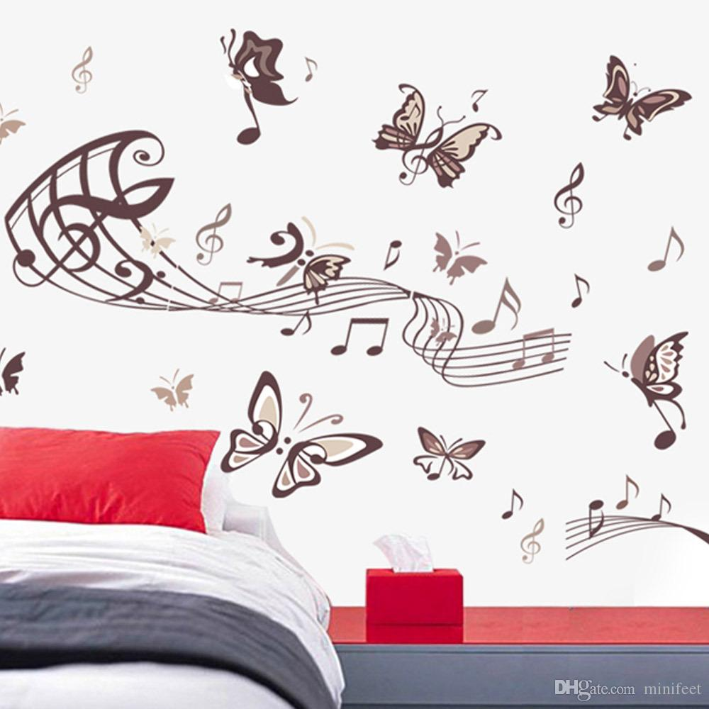 Minifeet Music butterfly wall stickers sitting room bedroom background waterproof decorative PVC stickers can be removed
