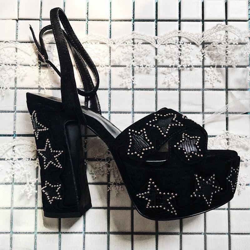 2018 Summer Hot Selling Platform Peep Toe Sandals Block Heel Beading Star Decor Sexy High Heels